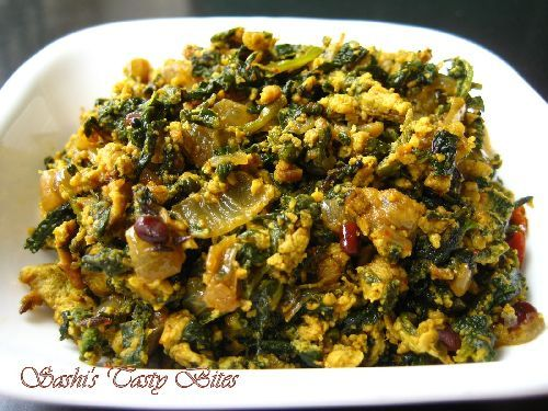 Keerai Muttai Poriyal / Spinach Egg Stir Fry