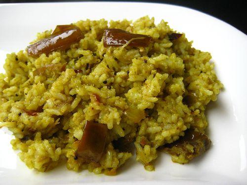 Brinjal Masala Rice / Spicy Kathirikai Sadam